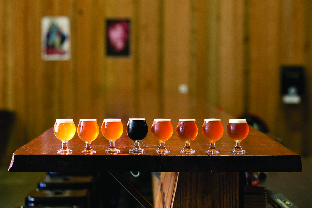 A flight of beers at Cooperage Brewing.   Photo by Dan Quinones.
